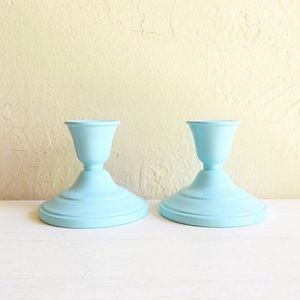 Matching Pair Candlesticks Teal Turquoise Blue
